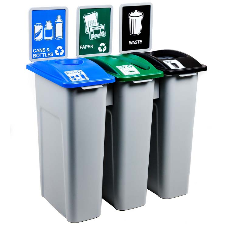 23 gallon large simple sort triple recycling station recycle away - Recycle containers for home use ...