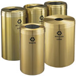 Satin Brass Recycling Containers