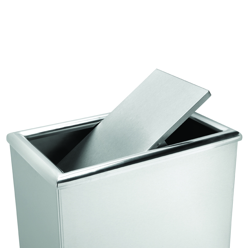 swivel lid trash can stainless steel trash cans recycle away. Black Bedroom Furniture Sets. Home Design Ideas