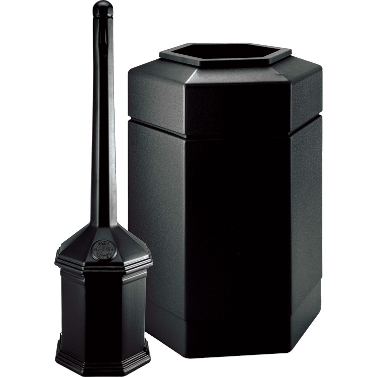 site saver combo cigarette butt receptacle trash can waste bin recycle away. Black Bedroom Furniture Sets. Home Design Ideas