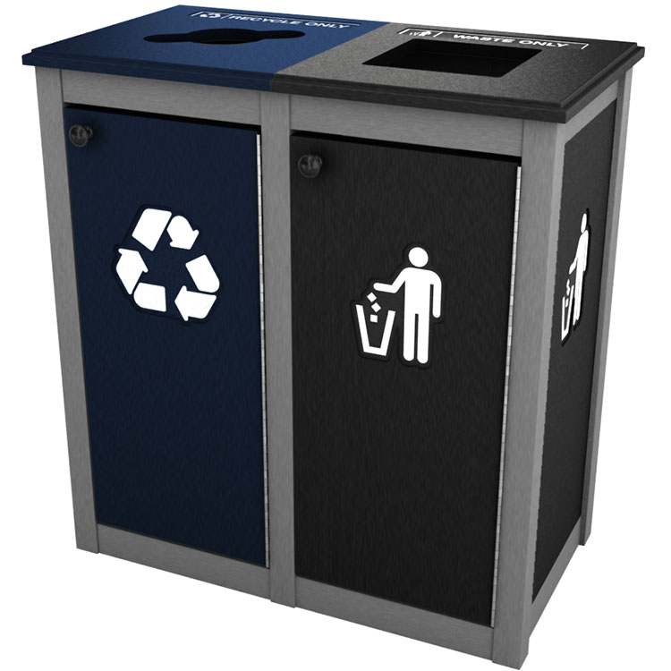 keene topload double recycling trash bin station recycle away. Black Bedroom Furniture Sets. Home Design Ideas