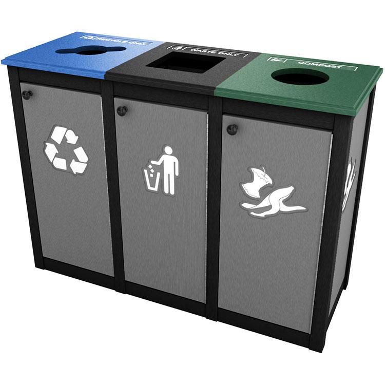 Keene Topload Triple Recycling Amp Trash Bin Station