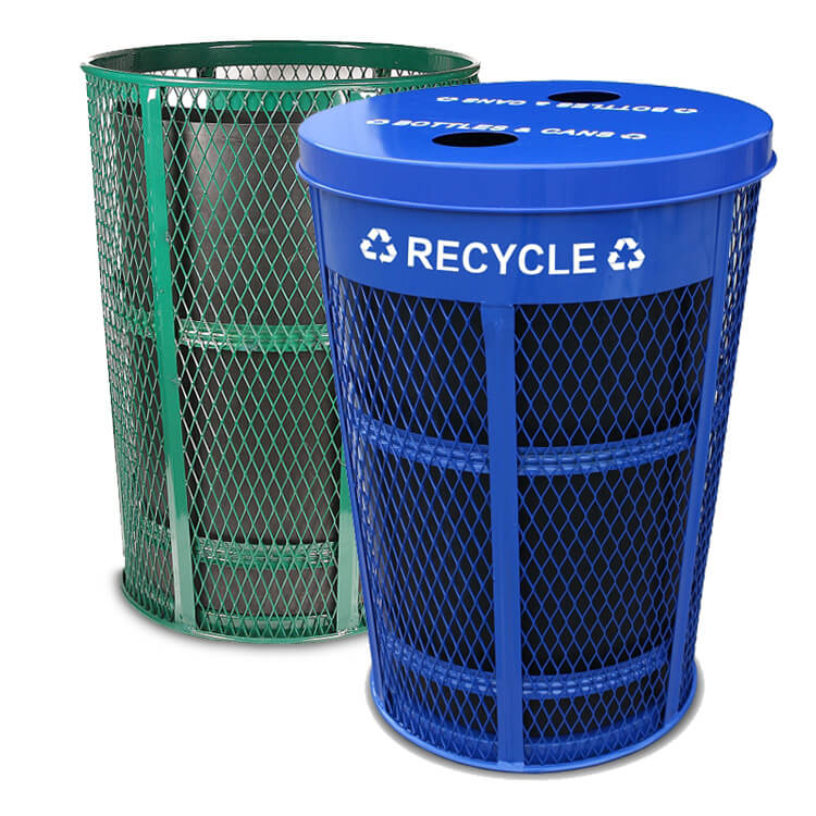 48 gallon expanded metal recycling waste combo bins recycle away. Black Bedroom Furniture Sets. Home Design Ideas