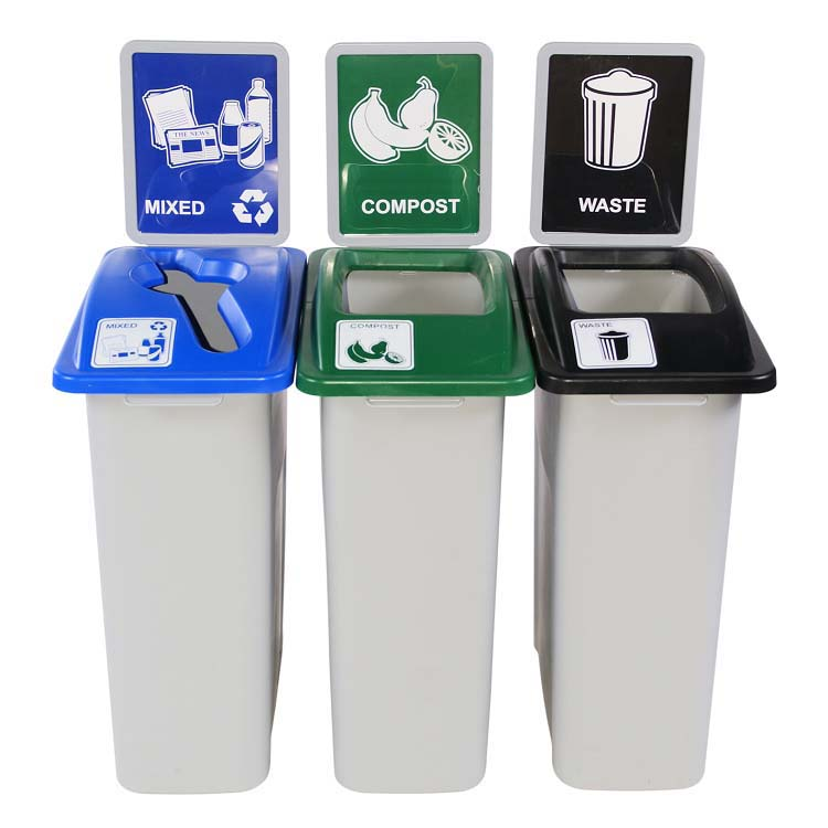 small simple sort triple recycle waste station 16 gal recycle away. Black Bedroom Furniture Sets. Home Design Ideas