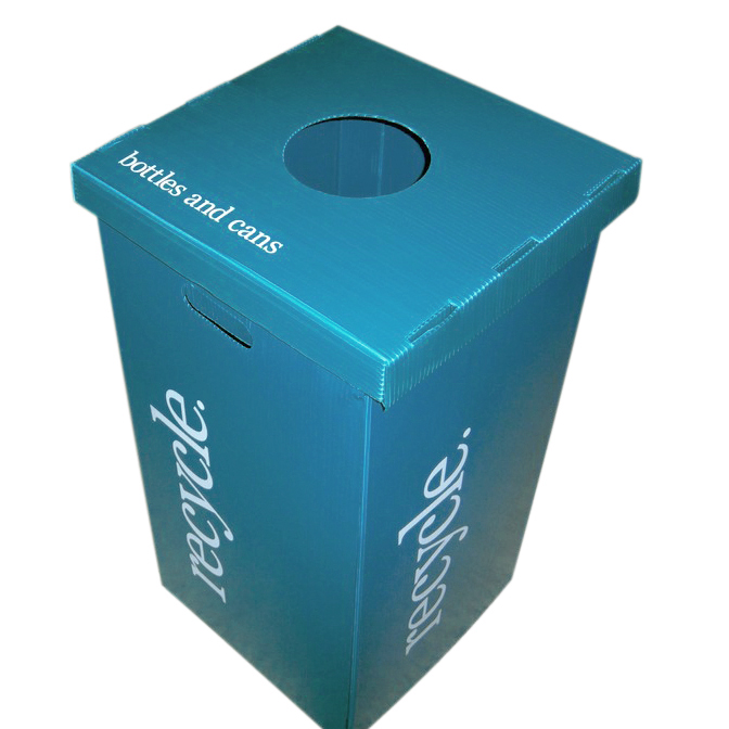 Light weight corrugated plastic recycling containers for Recycled plastic containers