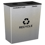 Metro Double Stream Recycling Receptacle - Stainless Steel