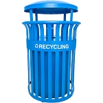 Streetscape Classic Recycling Receptacle with Rain Hood