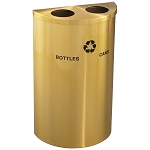 Glaro Dual-Purpose Half-Round Recycling Container in Satin Brass