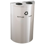 Glaro Dual-Purpose Half-Round Recycling Container in Satin Aluminum