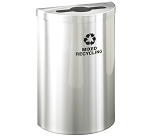 Glaro VALUE SERIES Half-Round Recycling Container in Satin Aluminum 16 Gallon