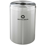 Glaro 33 Gallon Single Purpose Recycling Container in Satin Aluminum