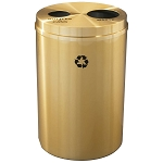 Glaro Dual Purpose Recycling Container - Satin Brass 33 Gallon