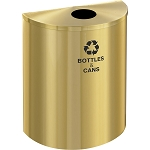 Glaro XL Single-Purpose Half-Round Recycling Container in Satin Brass