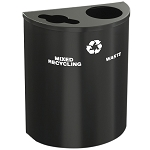 Glaro XL Dual-Purpose Half-Round Recycling Container in Custom Colors