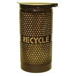 Perforated Steel Recycling Receptacles with Lid