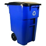 50 Gallon BRUTE Recycling Rollout Container with Lid