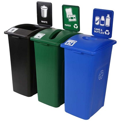 recycling receptacles 3 in 1 recycling containers recycle away. Black Bedroom Furniture Sets. Home Design Ideas