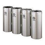 Glaro Four-Stream Recycling Station in Satin Aluminum