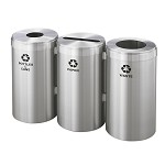 Glaro Three-Stream Recycling Station in Satin Aluminum