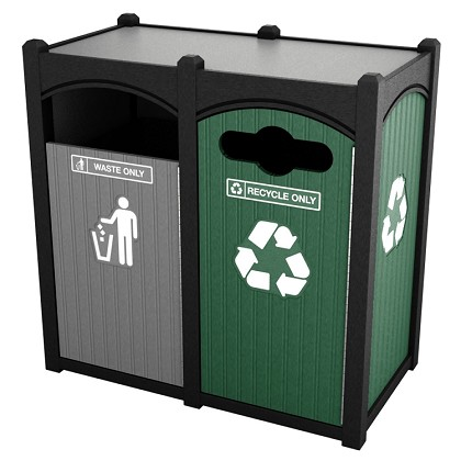 dorset sideload double recycling trash station recycle away. Black Bedroom Furniture Sets. Home Design Ideas