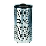 Classics Recycle Receptacle in Stainless Steel - Cans and Bottles
