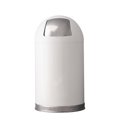 Classic White Dome Top Trash Can Push Door 12 Gallon