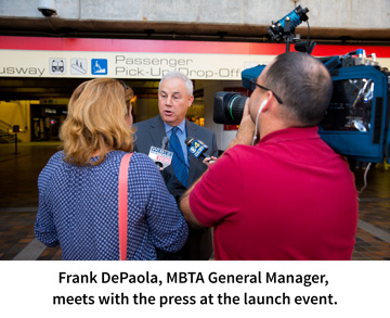 Frank DePaola, MBTA General Manager, meets with the press at the launch event