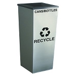 Metro Single Stream Recycling Receptacle - Stainless Steel