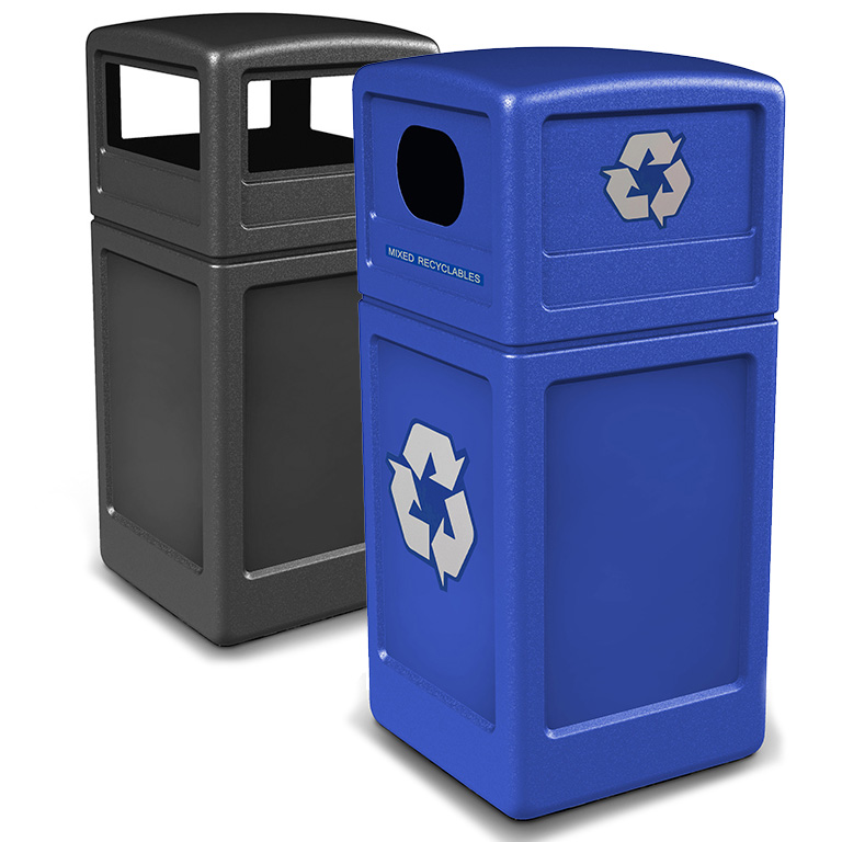 42 Gallon Trash And Recycling Receptacles With Dome Lids Convenient Access