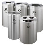 Satin Aluminum Recycling Containers