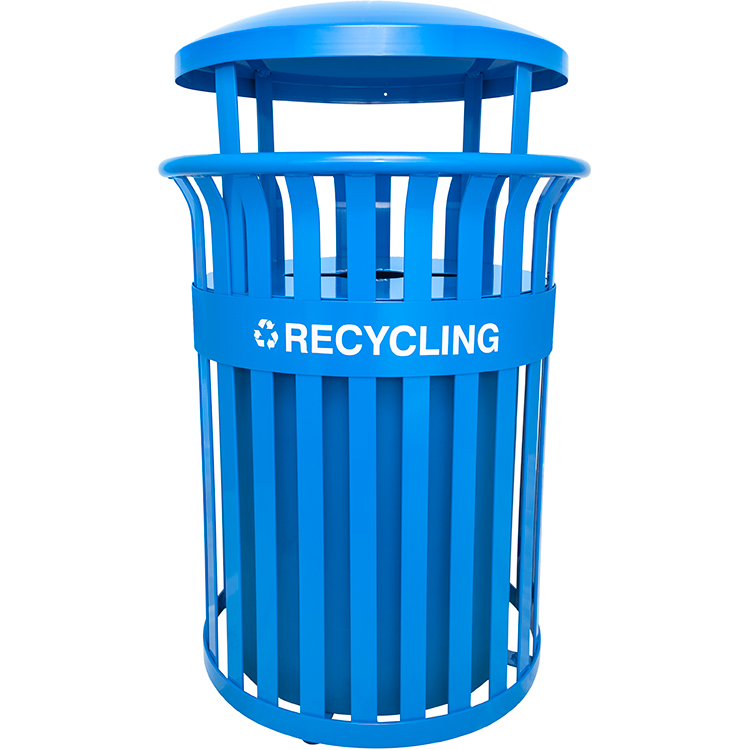 Streetscape Classic Blue Metal Recycling Container And