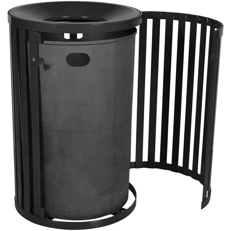 Heavy duty all steel 45 gallon outdoor trash receptacle with funnel top \u0026 door