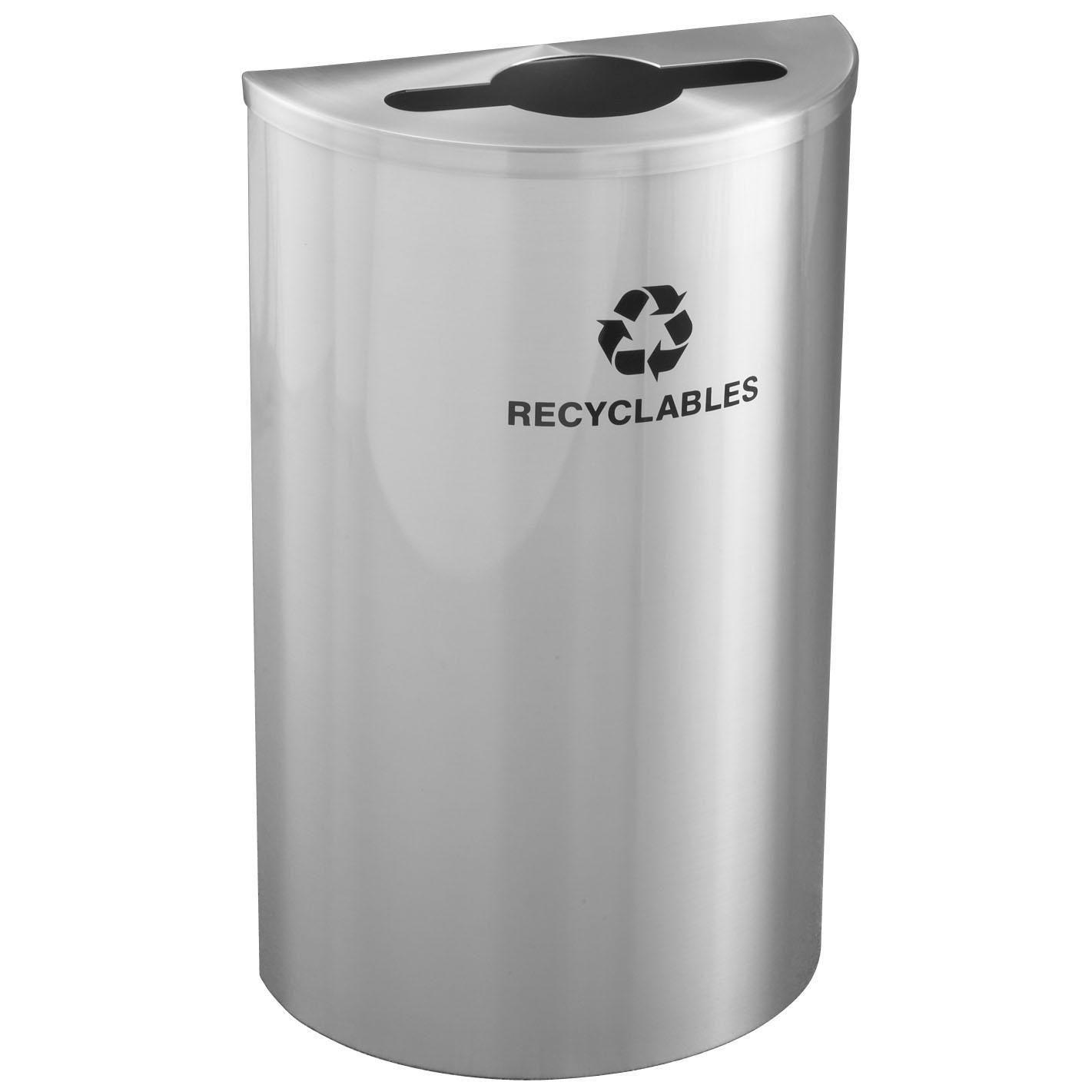 Aluminium Trash Cans : Glaro half round gallon steel recycling bin recycle away