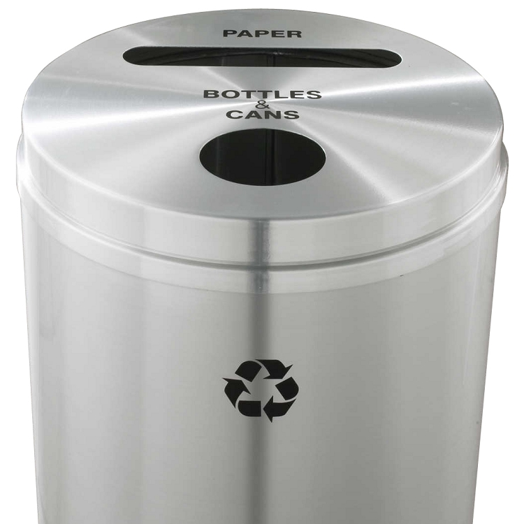 Dual Opening 33 Gallon Satin Aluminum Glaro Recycling Bin ...