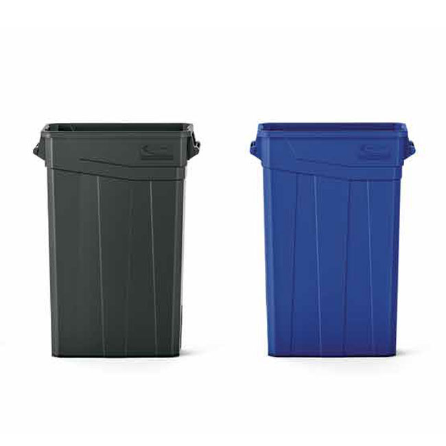 23 Gal Slim Plastic Trash Can With Handles Recycle Away