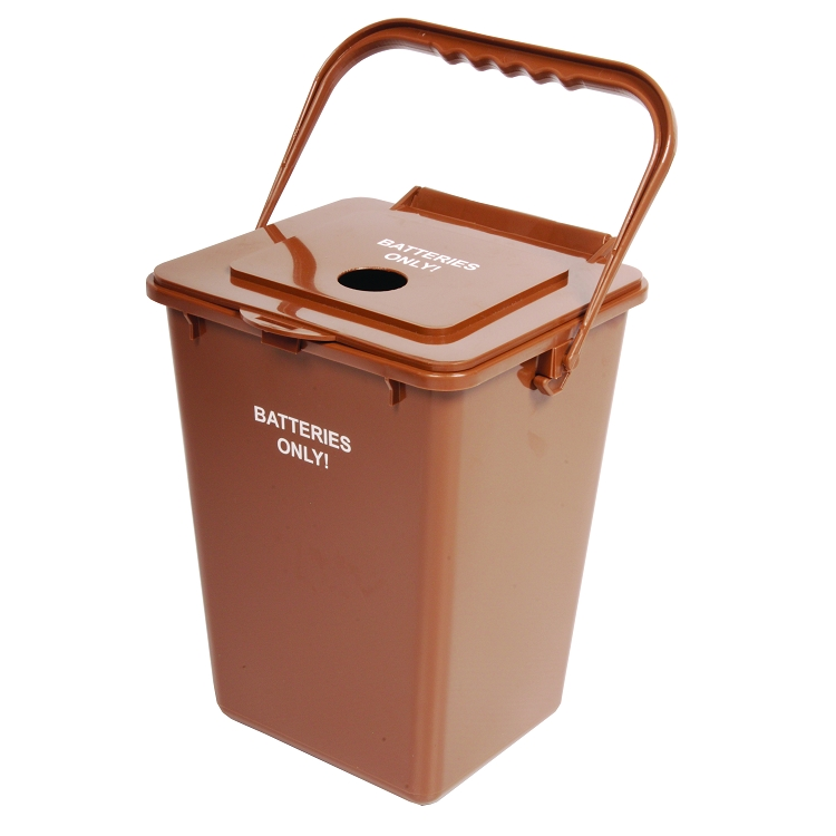 2 25 Gallon Battery Recycling Bin With Snap Tight Lid