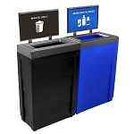 Evolve Two-Stream Duo-color Cube Slim Recycling Station with Signframes