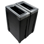 Evolve Two-Stream Cube Slim Recycling Station in Black
