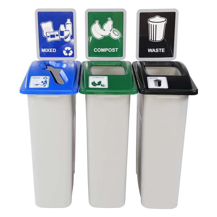 Medium Simple Sort Triple Recycling & Trash Station | Recycle Away