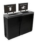 Evolve Two-Stream Cube Slim Recycling Station with Signframes in Black