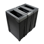 Evolve Three-Stream Cube Slim Recycling Station in Black