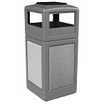 StoneTec 42 Gallon Square Waste Container with Ashtray Dome Lid