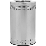 Imprinted 360 Open Top Waste Receptacle in Stainless Steel - 45 Gallon