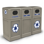 PolyTec Three-Stream Waste & Recycling Station with Dome Lids - Custom