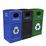 PolyTec Three-Stream Waste & Recycling Station with Dome Lids