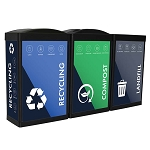 The Synergy Ergocan Three-Stream Recycling Station - Custom