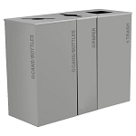 Black Tie Kaleidoscope XL Square & Slim Triple Recycling Station- Gray