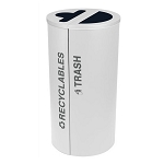 Black Tie Kaleidoscope Two-Stream Round Recycling Station - White