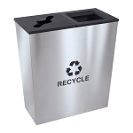 Metro Double Stream Recycling Receptacle in Stainless Steel