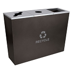 Metro Triple Stream Recycling Receptacles in Hammered Charcoal